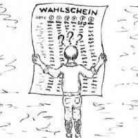 Karikatur Wähler vor einem Wahlschein